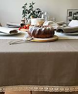 Úžitkový textil - Ľanový obrus s krajkou - 9614573_
