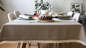 Úžitkový textil - Ľanový obrus s krajkou - 9614575_