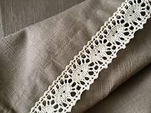 Úžitkový textil - Ľanový obrus s krajkou - 9614593_