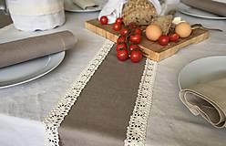 Úžitkový textil - Ľanový obrus s krajkou - 9614607_