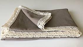 Úžitkový textil - Ľanový obrus s krajkou - 9614614_
