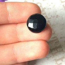 Minerály - Čierny ónyx brúsený kabošon kruh /12x4 mm - 9617822_