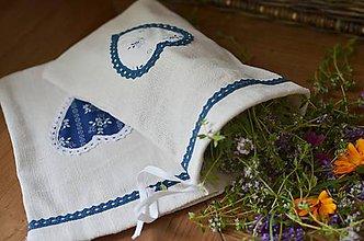 Úžitkový textil - Menšie ľanové vrecká s modrotlačou - 9615842_