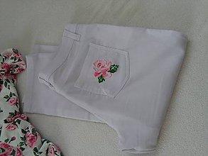 Nohavice - S kráľovnou kvetín (nohavice s ručnou výšivkou) - 9617922_