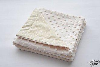 Textil - Minky deka creamy 70*70cm s krémovou bodkou - 9616404_