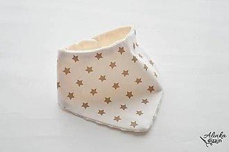 Detské doplnky - Nákrčník / šatka béžové hviezdičky s minky - 9616453_