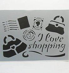 Pomôcky/Nástroje - Šablóna Stamperia - 15x20 cm - známka, kabelka, nákupy - 9616242_