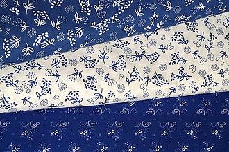 Textil - Látka Kytičky na modrej a bielej - 9615960_