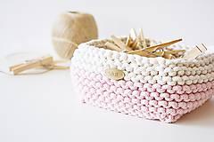 Košíky - Pletený košík štvorcový - ružový/prírodný - 9616845_