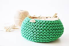 Košíky - Pletený košík - zelený - 9616896_