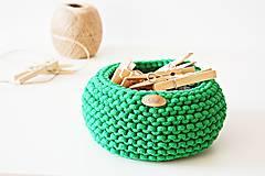 Košíky - Pletený košík - zelený - 9616899_