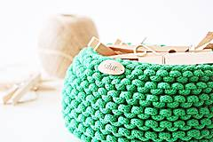 Košíky - Pletený košík - zelený - 9616900_