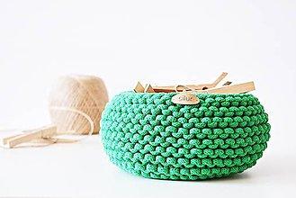 Košíky - Pletený košík - zelený - 9616897_