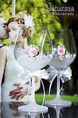 Nádoby - Svadobné poháre (Pieskovaná mená a dátum sobáša) - 9616295_