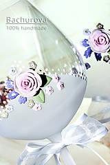 Nádoby - Svadobné poháre (Pieskovaná mená a dátum sobáša) - 9616296_
