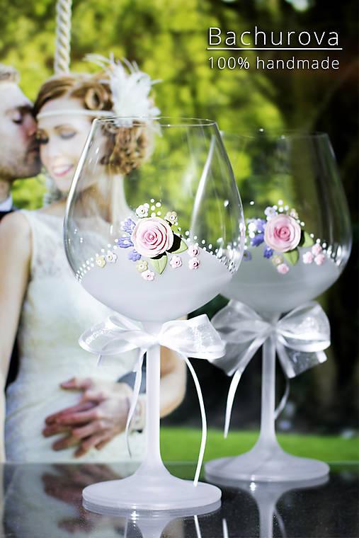 Svadobné poháre (Pieskovaná mená a dátum sobáša)