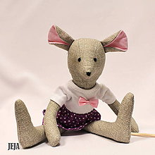 Hračky - Myška v bodkovanej sukničke a tričku s mašličkou - 9618157_