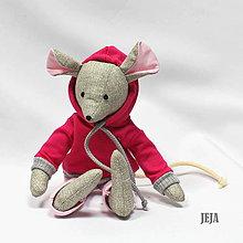 Hračky - Myška v cyklámenovej mikine - 9618326_