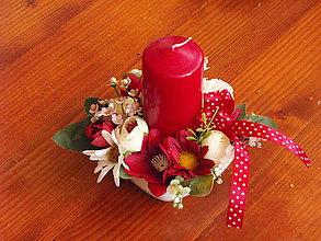 Dekorácie - Bordovo biela dekorácia so sviečkou pre učiteľku - 9617079_