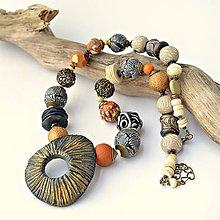 Sady šperkov - Náhrdelník a náušnice Tribal orange&blue - 9615865_