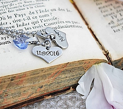 Náhrdelníky - Náhrdelník s menom a dátumom - zľava 4€ - 9616371_