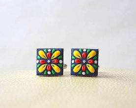 Šperky - Folk manžetové gombíky farebné - 9618979_