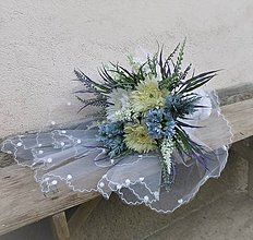 Dekorácie - svadobná kytica: jemne žltá, jemne modrá až fialková - 9618827_