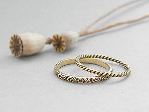 Prstene - 14k zlatý komplet prsteňov patinovaný - 9619975_