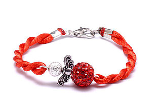 Náramky - červený náramok anjeliček strážniček - 9619747_