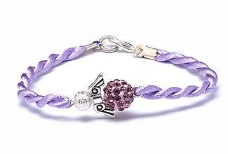 Náramky - fialový náramok anjeliček strážniček - 9619752_