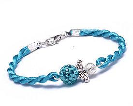 Náramky - modrý náramok anjeliček strážniček - 9619753_