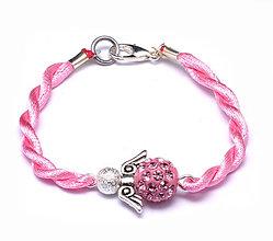 Náramky - ružový náramok anjeliček strážniček - 9619754_