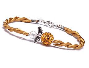 Náramky - zlatý náramok anjeliček strážniček - 9619758_