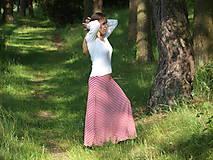 Sukne - Maxi sukňa červenobiely pásik - 9619183_