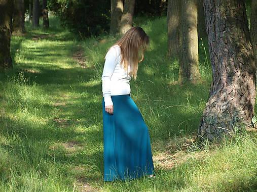 Petrolejová maxi sukňa