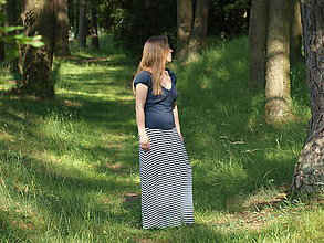 Sukne - Maxi sukňa námornícke prúžky - 9619189_