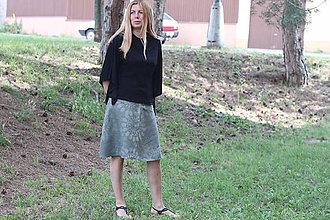 Sukne - Batikovaná ľanová sukňa Mandaly - 9619393_