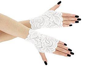 Rukavice - Dámské svadobné biele čipkové rukavice 01BA2 - 9620179_