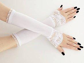 Rukavice - Svadobné bielé rukavičky 0835J - 9620309_