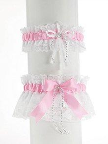Bielizeň/Plavky - set podväzok růžový saténový s čipkou pre nevestu 03P (Bordová) - 9620323_