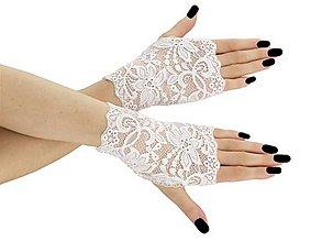 Rukavice - Dámské svadobné biele čipkové rukavice 02D - 9620342_