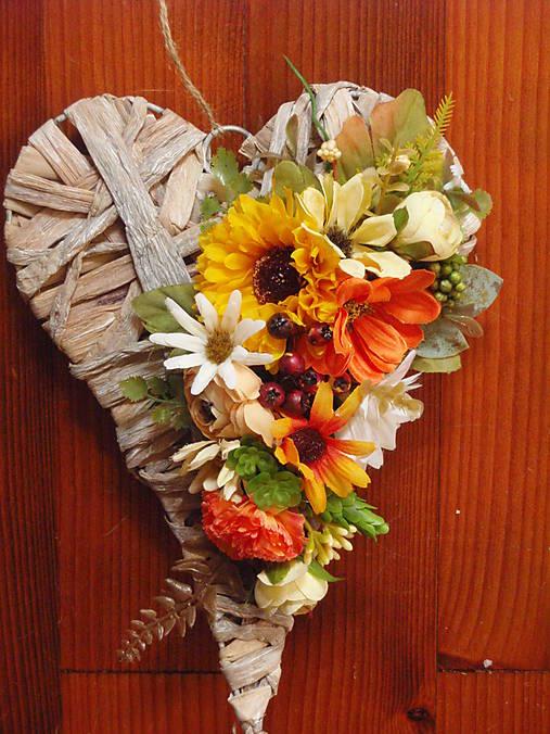 Srdce v jesenných so slnečnicou 28cm   erikak - SAShE.sk - Handmade ... 663f82bac57