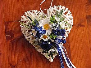 Dekorácie - Srdce s nevädzou a mararétkami 25cm - 9619809_