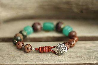 Náramky - Boho náramok z minerálov regalit, čaroit, jadeit, achát - 9618691_