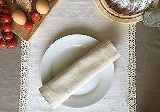 Úžitkový textil - Ľanový obrúsok a prestieranie (35x35 - Modrá) - 9619167_
