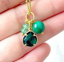 Náhrdelníky - Birthstone OCTOBER Malachite Emerald Zircon Pendant / Prívesok s minerálmi smaragd, synt.malachit a brúseným zirkónom - OCTOBER - 9621198_
