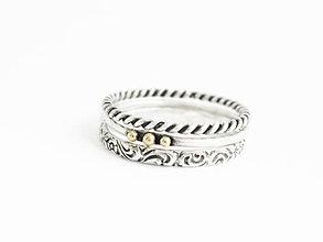 Prstene - 925 sada strieborných prsteňov so 14k zlatými detailami - 9622766_