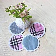 Úžitkový textil - podložky pod pohár PINK KÁRO  (set 4ks) - 9620596_