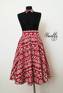 Sukne - YWETTE: máme červený folklór na sukni - 9621378_