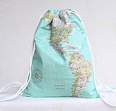 Batohy - Vak uťahovací - mapa sveta - 9622929_